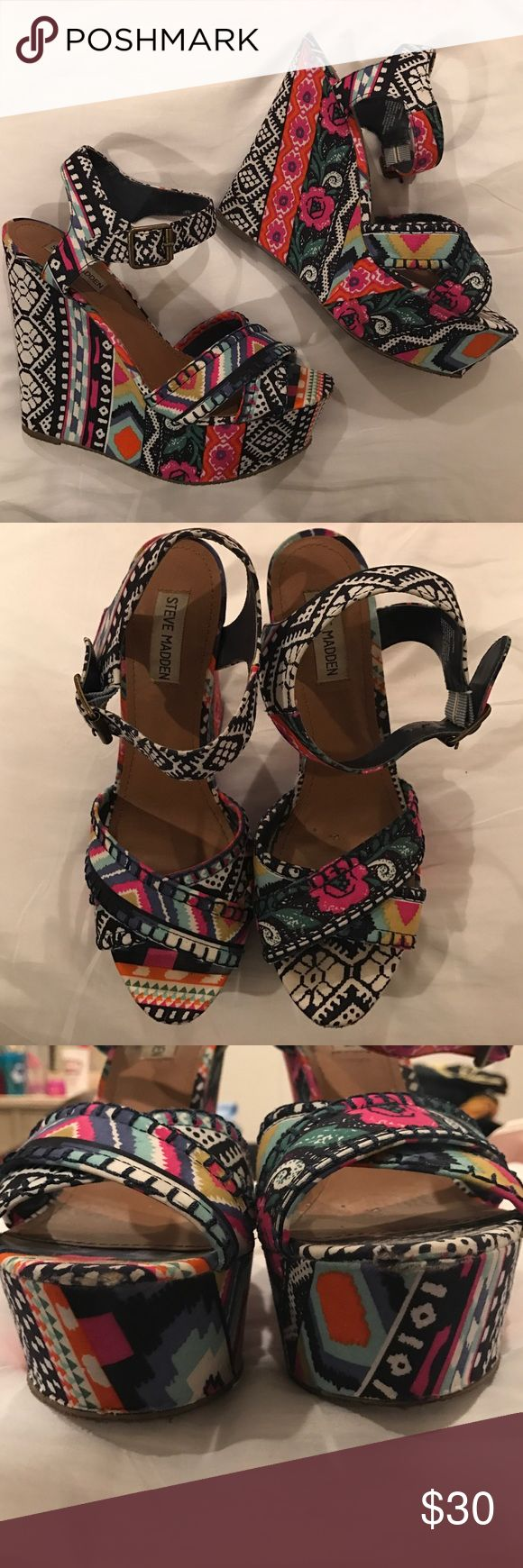 "Colorful Patterned ""Winonna"" Steve Madden wedges Super cute ""Winonna"" wedges perfect for brightening up any outfit. Size 10 Steve Madden Shoes Wedges"