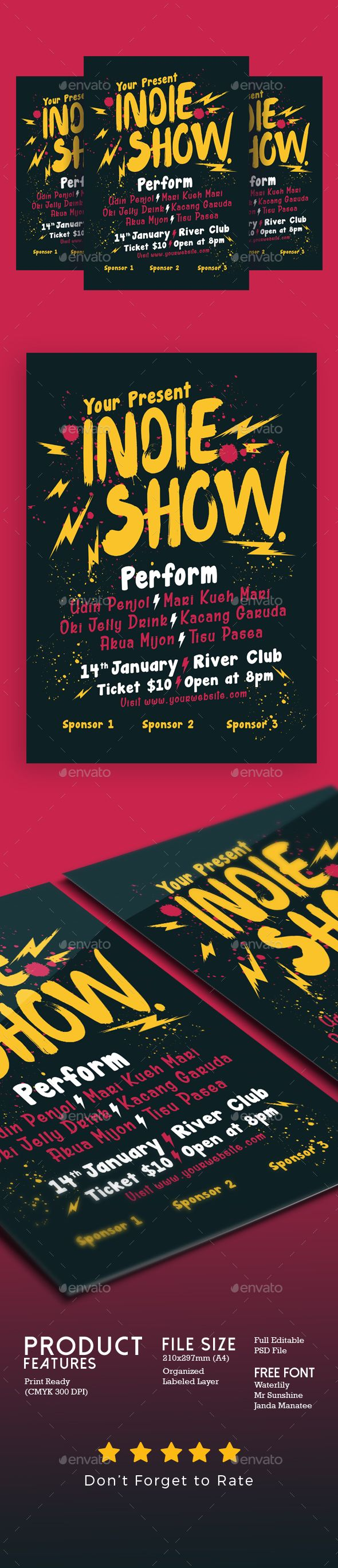 Indie Show Concert Flyer — Photoshop PSD #ads #indie concert • Available here → https://graphicriver.net/item/indie-show-concert-flyer/19203772?ref=pxcr