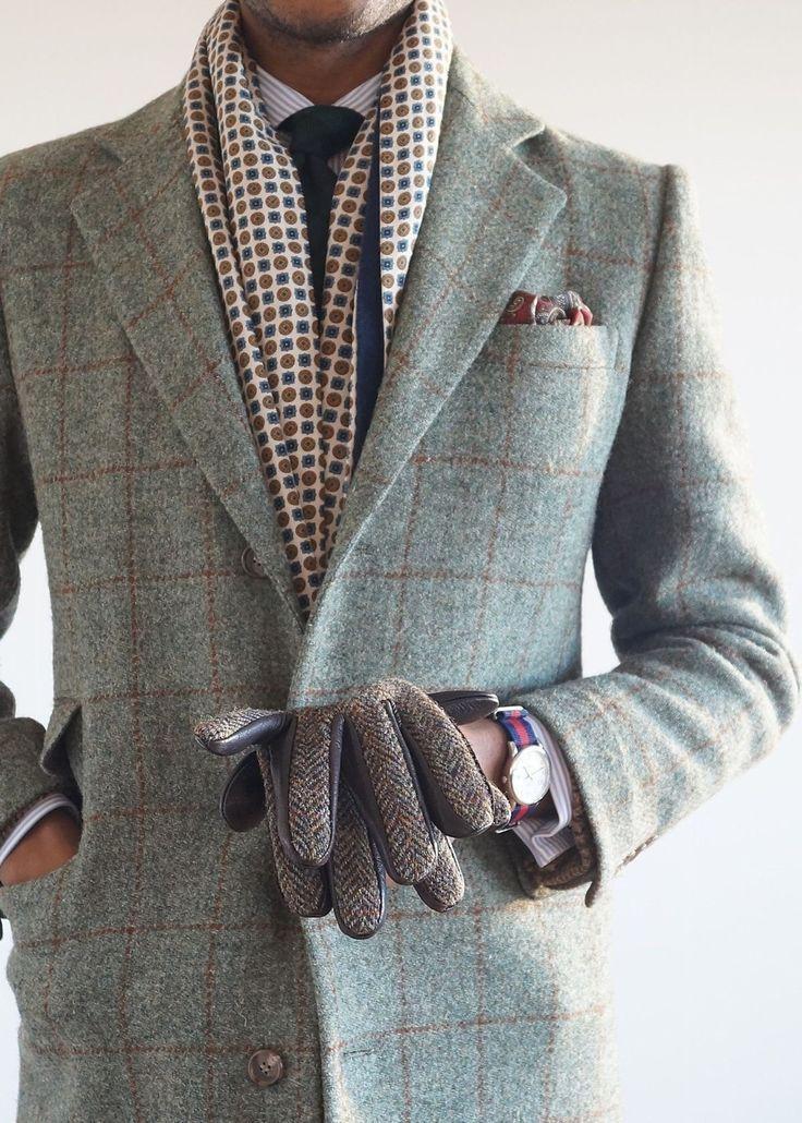 Men 39 S Grey Check Overcoat White Vertical Striped Dress Shirt Navy Tie Burgundy Print Pocket