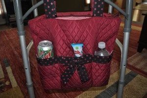 I HIGHLY RECOMMEND this bag from www.afabag.com that attaches to a walker for anyone that uses a walker.  It enables you to regain some of your independence back.