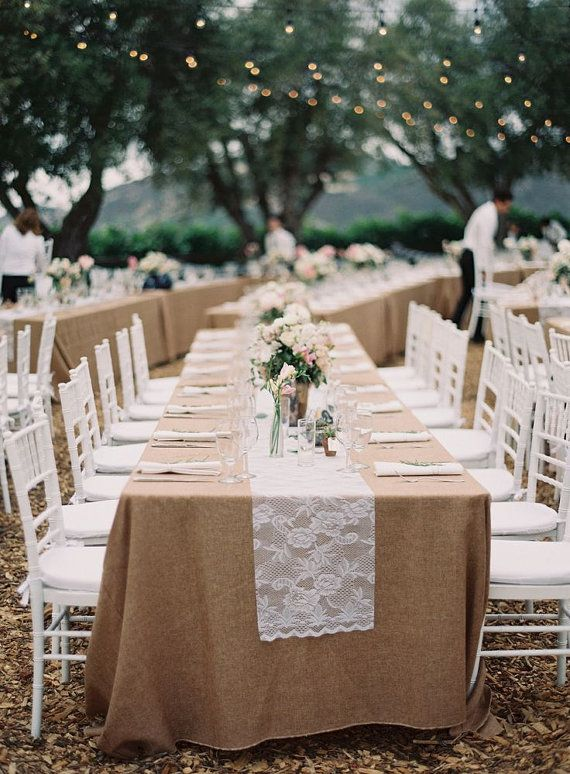 Burlap And Lace At An Outdoor Reception Love Those Twinkle Lights