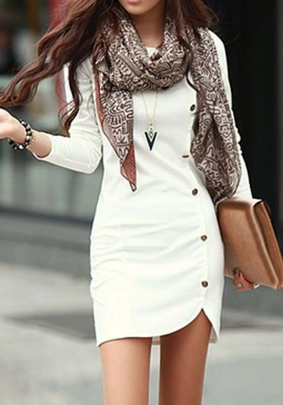 White Plain Buttons Long Sleeve Dress