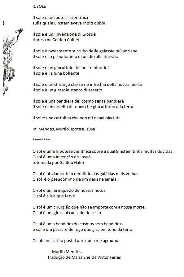 Murilo Mendes, poema em italinao.