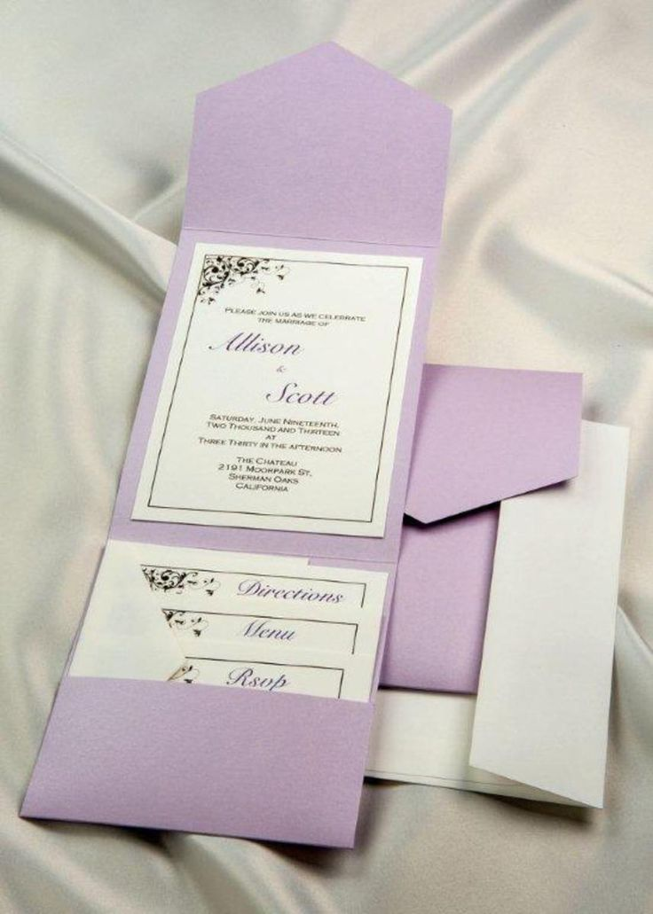 Print Your Own Lavender Wedding Invitations, Lavender Pocket Wedding  Invitations, Lavender Printable Invitation Kits, Lavender DIY Wedding  Invitations