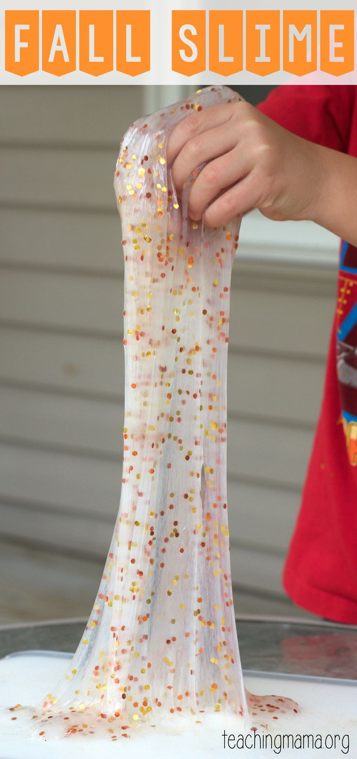 Fall Slime Recipe - this recipe for play is awesome!! You only need 4 ingredients to make this!