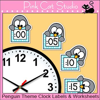 These fun penguin theme labels will look fantastic around your classroom clock! The polka dot frames and silly penguin characters are sure to inspire your students to practice telling time. Worksheets are included. By Pink Cat Studio.