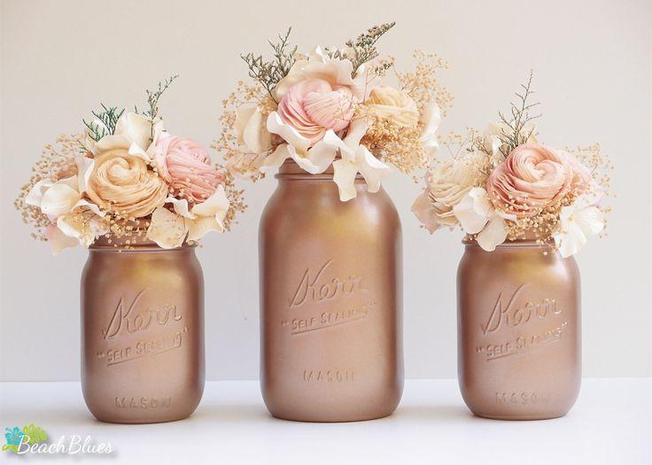 Vasi in stile Shabby Chic ricavati da barattoli di vetro #mason #jar #shabby #chic #pot