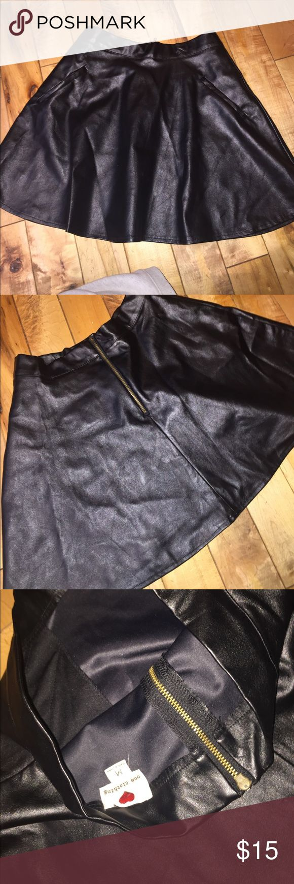 Faux leather skater skirt Used once size medium brand one clothing faux leather skater skirt with pockets . Zips in the back .16 inches long one clothing Skirts Circle & Skater