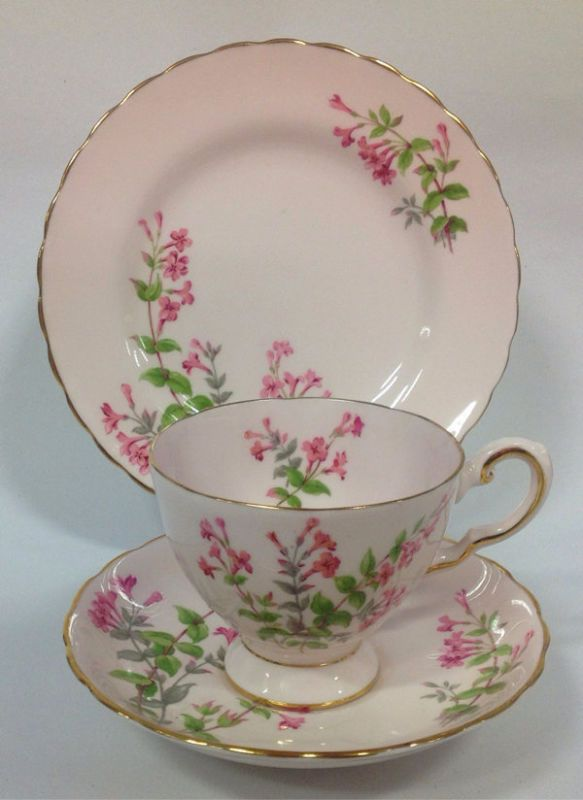 Tuscan English China Vintage Tea Set Tea Cup Trio Pink Flowers Hand painted   eBay