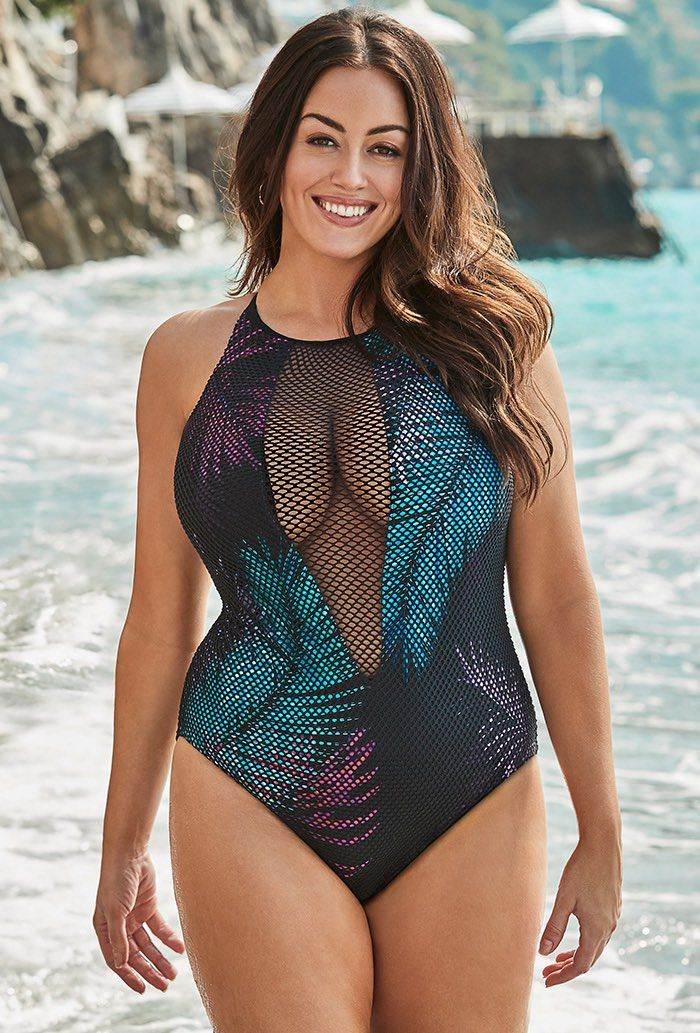 20880ff2451d1 Venice Mesh High Neck One Piece Swimsuit in 2019 | Swimwear | Plus ...