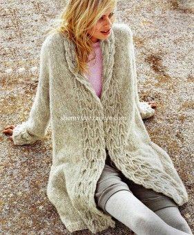 Пальто с планкой из кос Размеры: 34/36 (38/40) 42/44 http://shemyvyazaniya.com/page/palto-s-plankoj-iz-kos