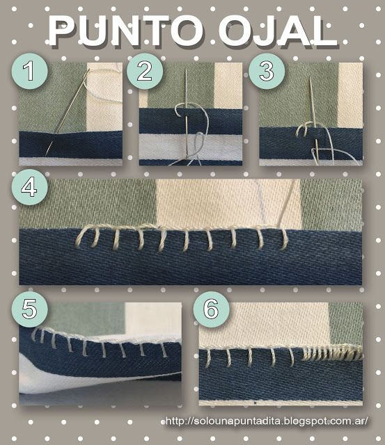 Sólo una puntadita...: Empezamos a coser: Punto de Ojal. Tutorial paso a paso de como realizar este punto para decorar bordes de telas y confeccionar ojales a mano.