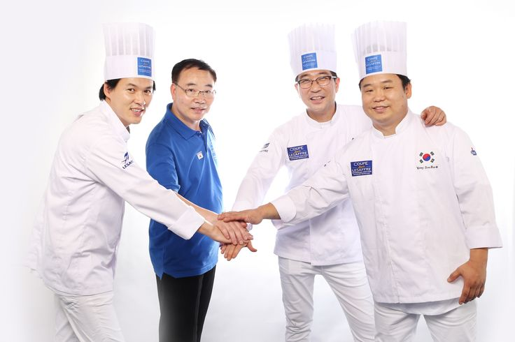 [SOUTH KOREA TEAM- Asia Selection - Louis Lesaffre Cup]  Chang-Min LEE - Breads candidate Jong-Ho KIM - Viennese pastries candidate Yong-Joo PARK- Artistic piece candidate And coach Sang-Gyu PARK  #BakeryLesaffreCup #Asia #SouthKorea #bread #baking #SIALInterFOOD2015