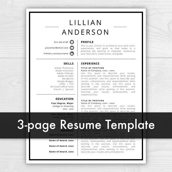 3 page resume template with icons for microsoft word mac pages lillian anderson instant download us letter and a4 sizes included mac pc - Summarize Your Achievements