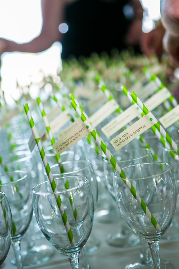 Noren-Dolan wedding seating cards in the form of straws complete with a drink. Pink lemonade was poured closer to when guests arrived