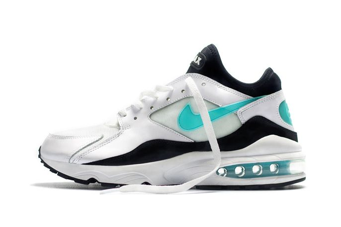 "Nike's Nike Air Max 93 returns this summer in OG form with the reissue of the silhouette's classic ""Menthol"" colorway. Like the original, this 2014 retro of the early '90s trainer boasts a black and white upper of leather, mesh, nubuck, and neoprene as ""Menthol"" accents hit the branding, heel, and visible Max Air unit. Sporting an official colorway of White/Dusty Cactus-Black, the Nike Air Max 93 OG ""Menthol"" is now available from size? while supplies last."