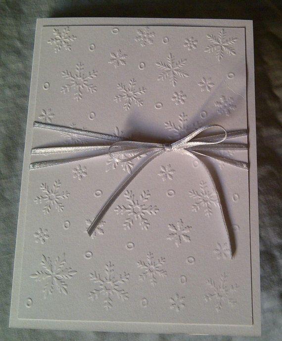 Elegant White embossed snowflake invitation / by LKsInvitations, £19.50