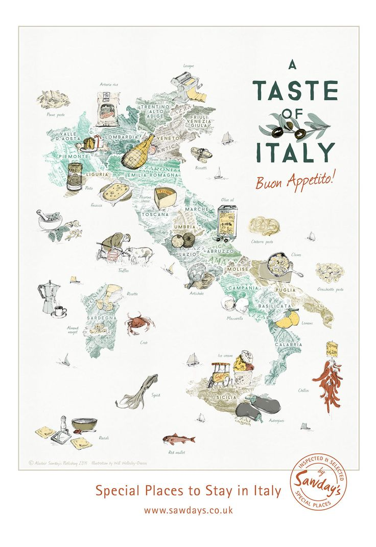 'A Taste of Italy' map by Will Wellesley-Davies #map #italy #italia