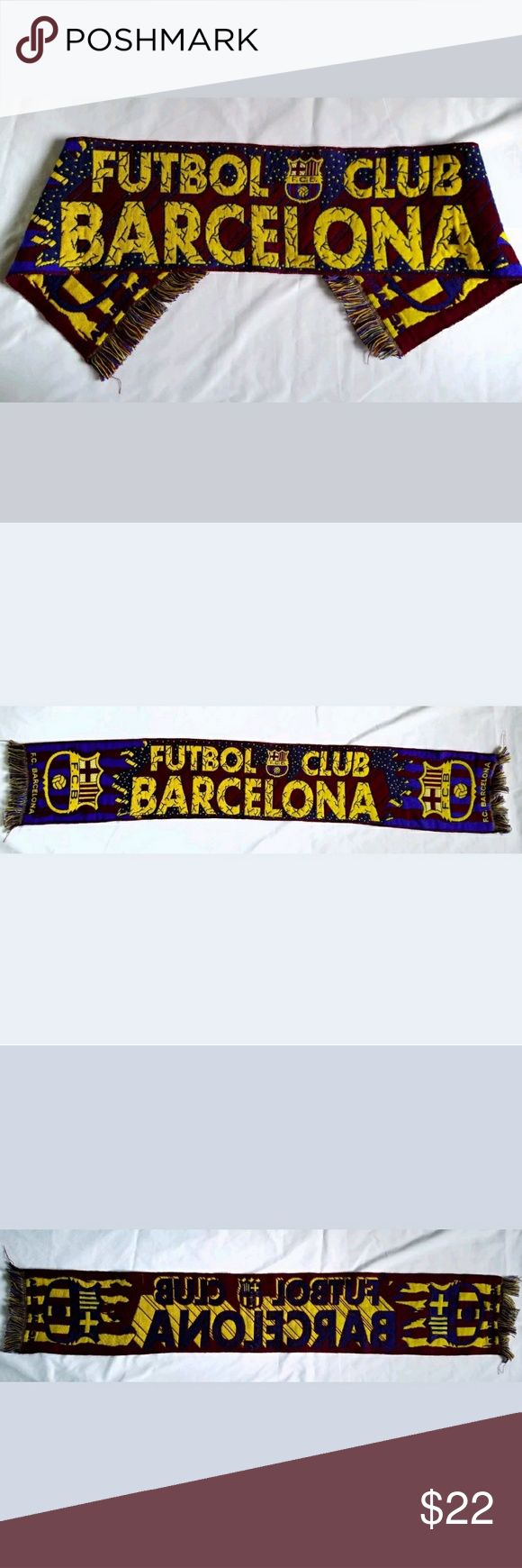 """Barcelona Futbol Club soccer scarf Barcelona Futbol Club unisex scarf available:  No rips, stains, or tears Measures 51 inches long (from each tip of the tassels) 8 Inches wide Says """"Futbol Club Barcelona"""" on the front with FCB shields on each end  Comes from a smoke-free home! Accessories Scarves"""