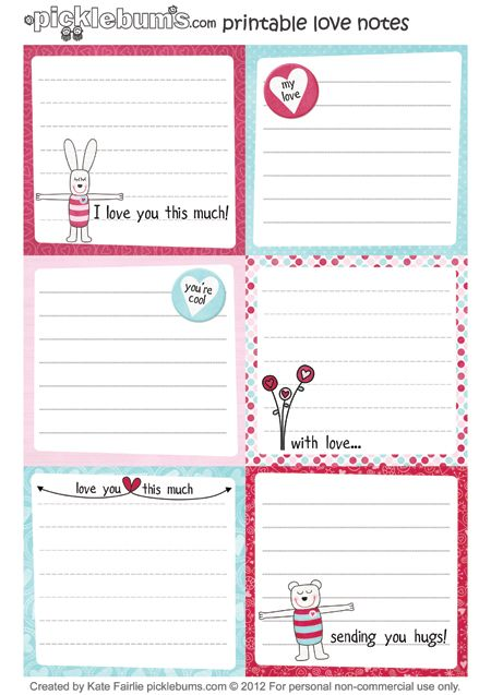 More printable lunch box notes... or you could use them for valentines messages