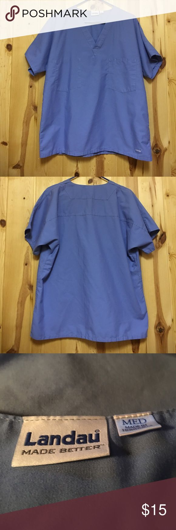 Landau Scrub Top Medium Ceil Blue  EUC Landau Scrub Top Medium Ceil Blue  EUC Reversible I do not have matching pant at this time. Landau Tops