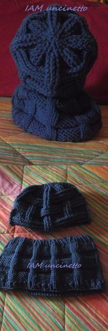 Berretto all'uncinetto e scaldacollo ai ferri in lana blu. Crochet hat & knitted neck warmer. Handmade