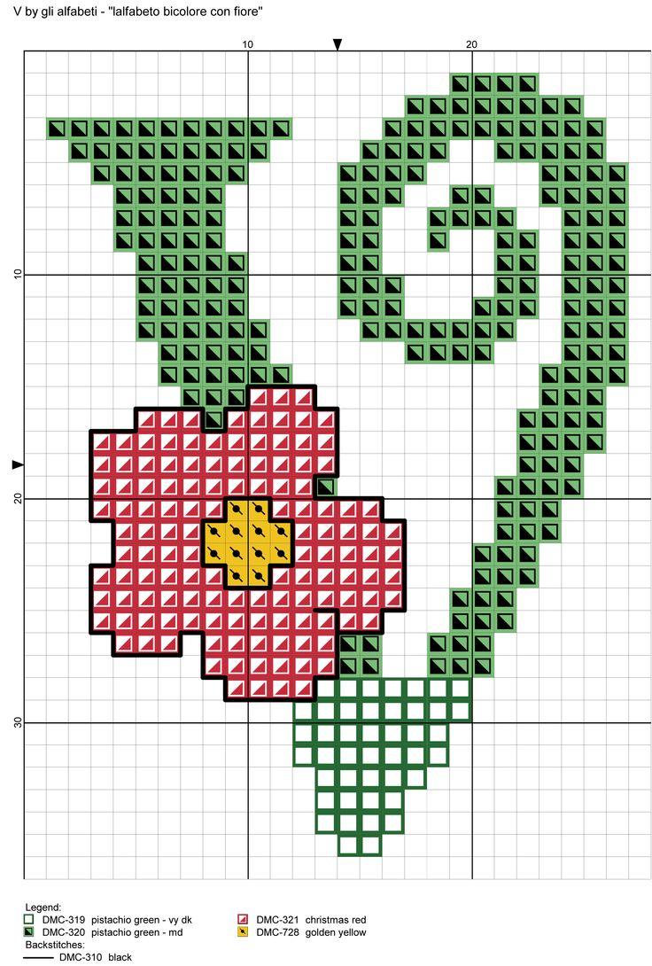 alfabeto bicolore con fiore: V