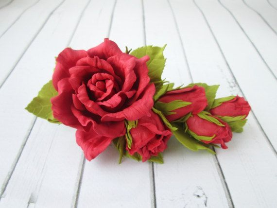 Red Rose Formal Hair Clip  Flowers Hairpin  Side Hair Piece  Flowers Hair Claw Accessories  Prom Red Flowers Handmade Hair Adornments