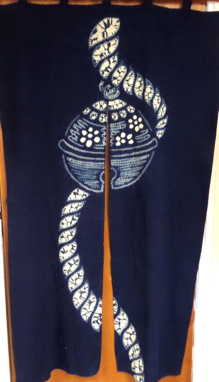 Unusual! Vintage Japanese shibori noren; door curtain; indigo with temari ball; kid's den or chic room divider. Handmade;interiors;decor; N1 by LizzieHuxtable on Etsy