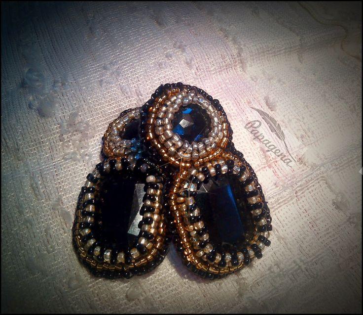 Papagena - handmade zone Bead embroidery earrings
