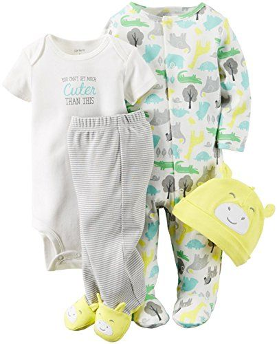 Carter's Unisex Baby 4 Pc Sets 126g361, Yellow, New Born  4 piece set include cap, sleep-n-play, bodysuit and footed pants  novelty cap and footart