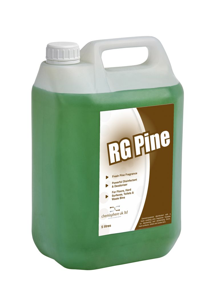 RG Pine Disintectant is a general purpose disinfectant with a fresh smelling pine fragrance. Suitable for disinfecting and deodorising floors, hard surfaces, toilets and waste bins.