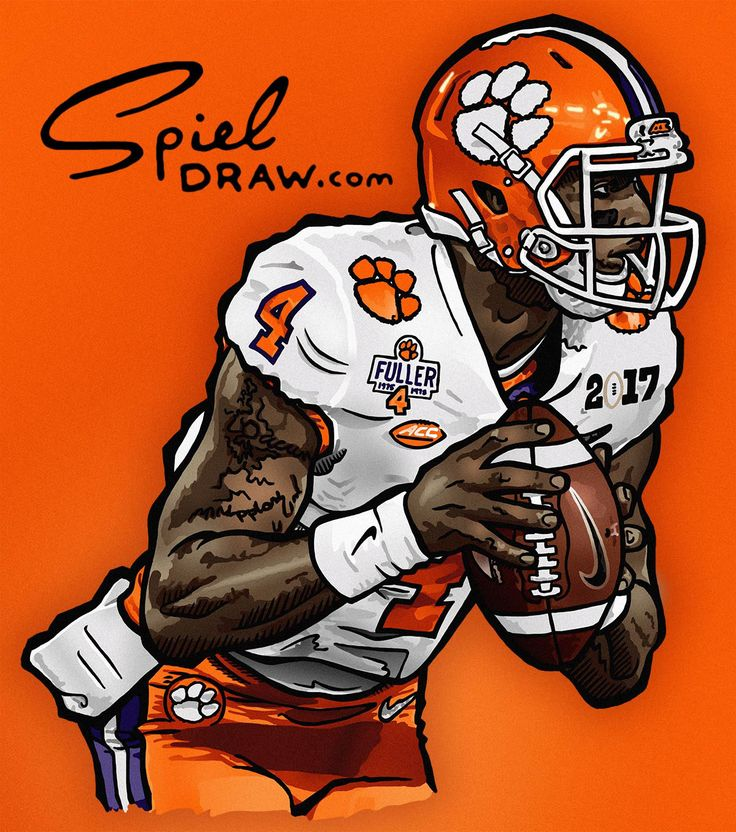 Digital illustration of Clemson quarterback Deshaun Watson. Created with Procreate and Photoshop.
