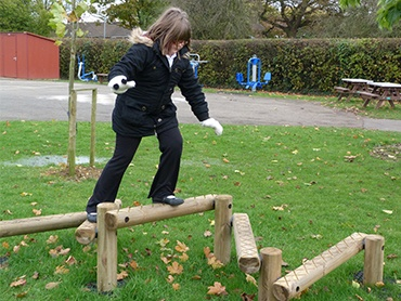 Some sections in the adventure trails help children to learn coordination and balance.