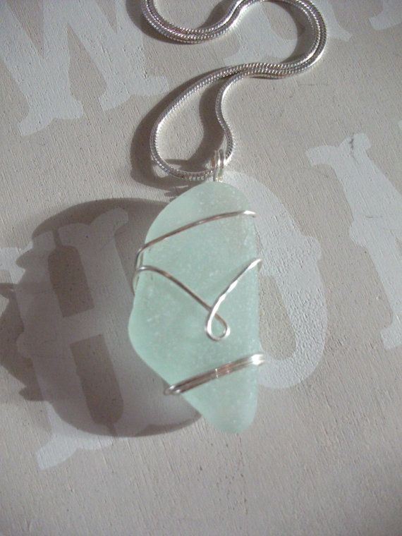 Aqua Sea Glass Silver Wirewrapped Bridesmaid  by byNaturesDesign, $16.00