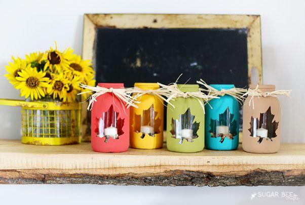 Lanterna autunnale creata con i barattoli di vetro #mason #jar #lantern #autumn