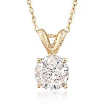 "Ross-Simons - 1.00 Carat Diamond Solitaire Necklace in 14kt Yellow Gold. 18"" - #767012"