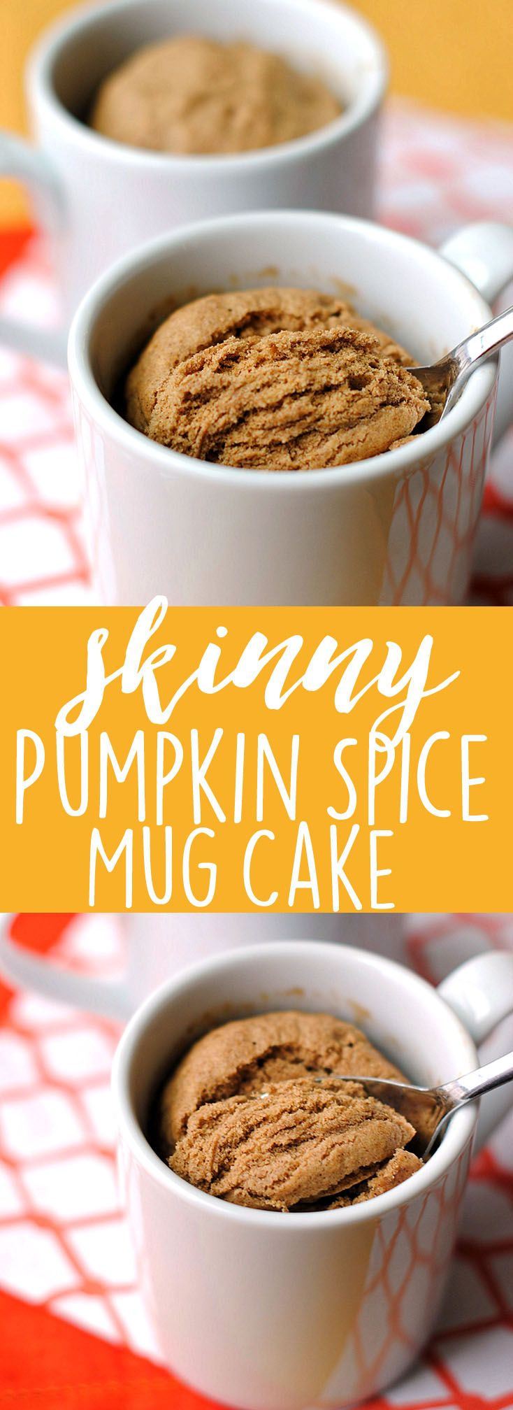 Skinny Pumpkin Spice Mug Cake - fat-free and under 200 calories! | Eat Yourself Skinny