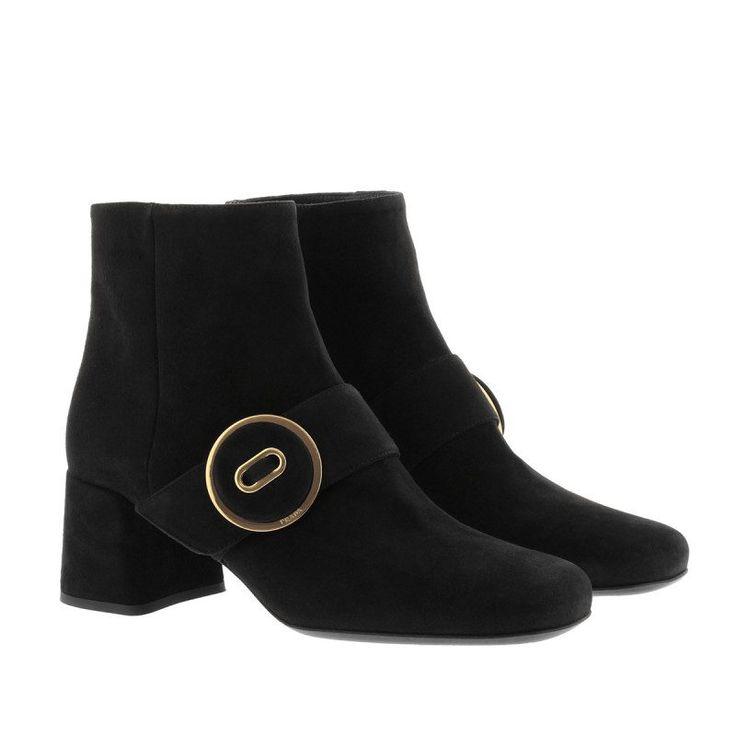 Prada Prada Boots & Booties – Calzature Donna Camoscio Booties Nero – in schwarz – Boots & Booties für Damen