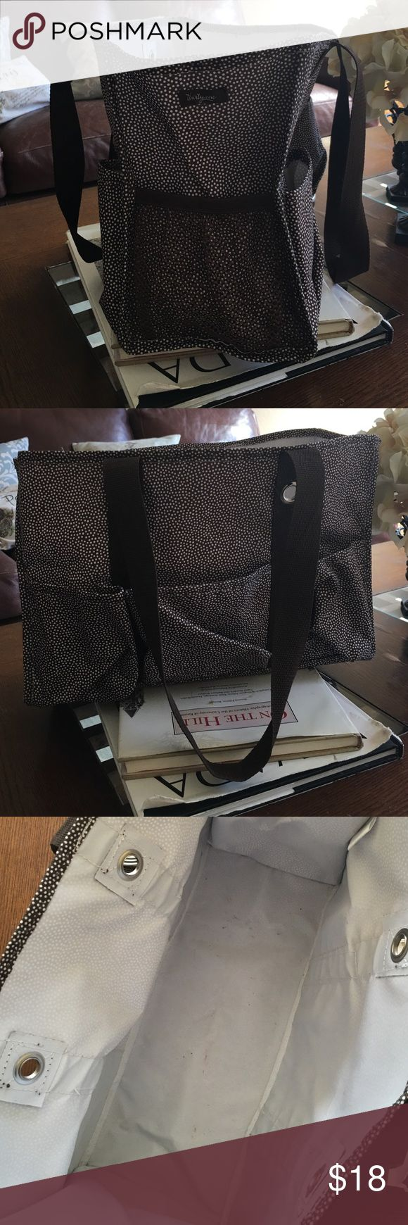 Thirty One Utility Tote Great condition. A few marks inside the bottom but may be washable. 8 outside pockets. Brown with white dots Thirty One Bags Totes