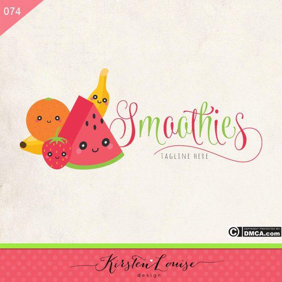 Premade Fruit Logo Smoothie Logo Kawaii by KirstenLouiseDesign