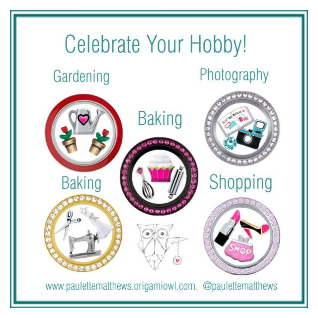"""""""Celebrate Your Hobby"""" with Origami Owl Customizable Lockets...order yours today at www.karenmk.origamiowl.ca"""