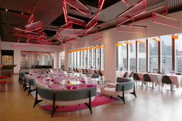 The ROBERT Restaurant at top of Museum of Arts & Design --- panoramic views of Columbus circle & Central park