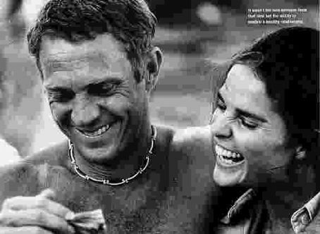 """Steve McQueen & Ali McGraw--one of the early """"power couples""""."""