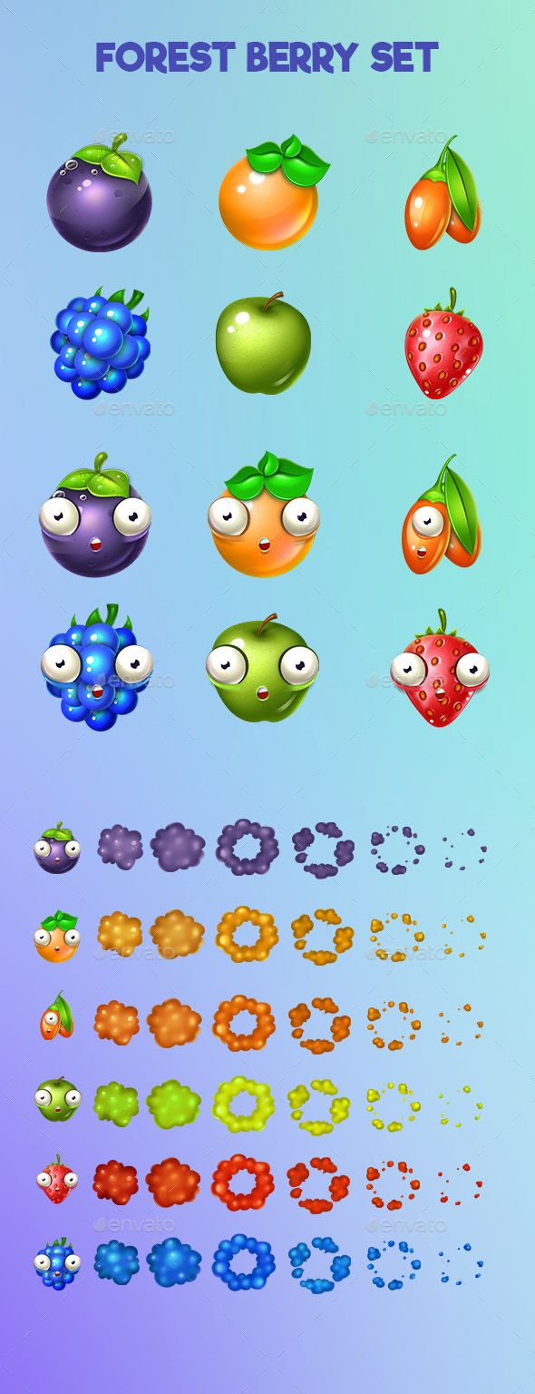 Set of Colorful Fruits and Explode Animation - Miscellaneous Game Assets