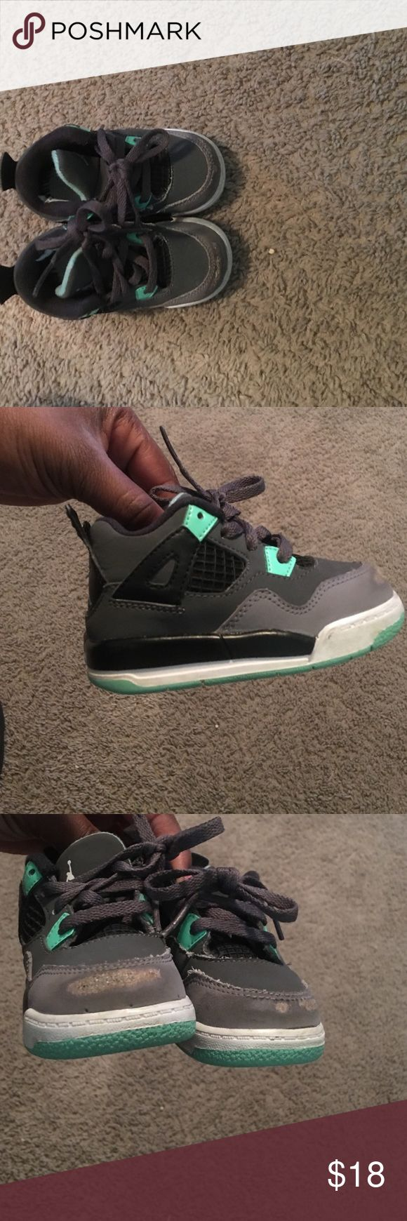 Retro Jordan 4's in good condition Retro Jordan 4's in good condition. No insoles and the toes have some scuffs as shown in picture! Jordan Shoes Baby & Walker