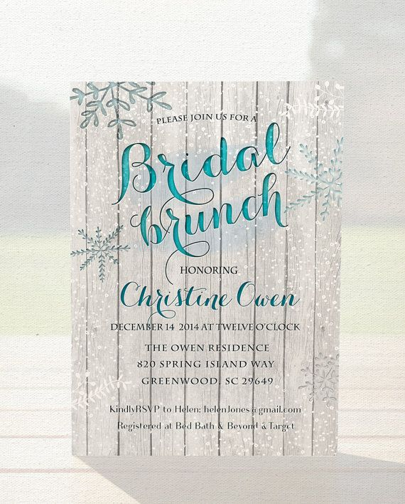 Winter bridal shower invitation bridal brunch by OnlyPrintableArts, $15.00