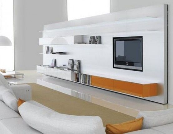 TV cabinets stand from wood fiber board with white gloss lacquered