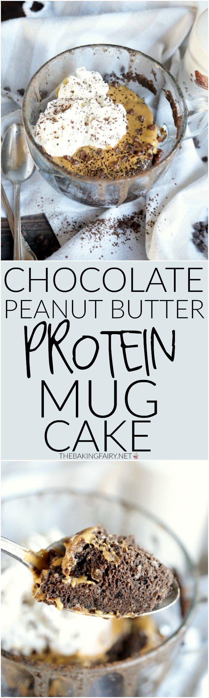 chocolate peanut butter protein mug cake | The Baking Fairy