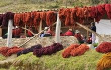 Red dye day in Acopia, Peru. The weavers use cochineal on wool and alpaca yarn.||ClothRoads Blog